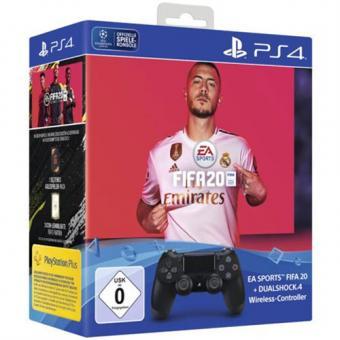 PS4 Controller Dual Shock 4 V2 Schwarz inkl. FIFA 20